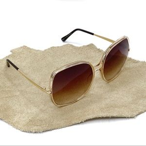 70's Style Oversized Sunglasses: Champagne & Brown